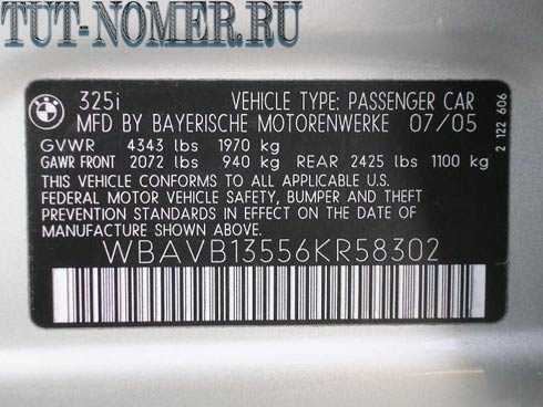 Расшифровка VIN BMW -