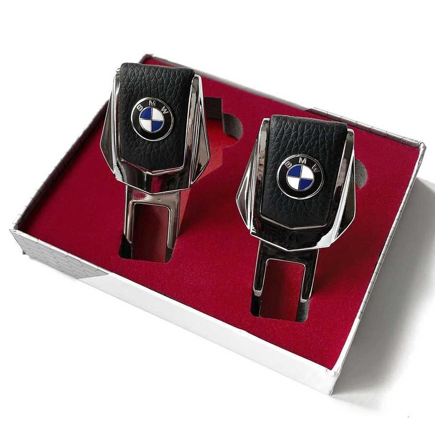 Заглушки ремней безопасности BMW (БМВ) Натуральная кожа, хромированный металл, в подарочной упаковке, 2 шт. — купить в интернет-магазине OZON с быстрой доставкой